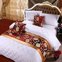 yazi Luxury Bedding Runner Cotton Decorative Bed End Scarf for Bedroom Hotel Wedding Room Peony 19x94 Inch