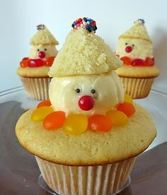 Cupcakes de payasos. Tutorial.