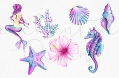 Mermaid Clipart Watercolor Sea Underwater Illustration Starfish Siren Seashell Seahorse DIY Pack Summer Collage Sheet Pink Purple Blue - Mermaid Clipart Watercolor Sea Clipart Seashells by froufroucraft - Seashell Tattoos, Mermaid Tattoos, Sea Tattoo, Seahorse Tattoo, Seahorse Art, Octopus Tattoos, Coral Tattoo, Seahorse Drawing, Mermaid Clipart