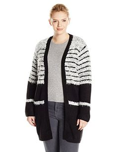 Calvin Klein Women's Plus-Size Eyelash Cardigan with Rib Trim, Black/White, 2X ** You can find out more details at the link of the image.
