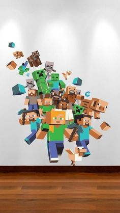Large Minecraft Wall Sticker Xbox Game Wall Sticker Boys Bedroom ...