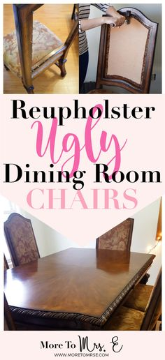 Find detailed instructions on how to reupholster dining room chairs that have two padded front and back paenls. Dissassemble the chairs and choose fabric. Reupholster Dining Room Chairs, Fabric Dining Room Chairs, Upholstery Fabric For Chairs, Reupholster Furniture, Dining Table Chairs, Upholstered Chairs, Painted Dining Chairs, Furniture Refinishing, Furniture Upholstery