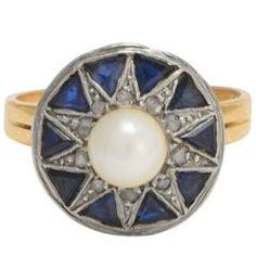Art Deco Pearl Sapphire Diamond Star Ring