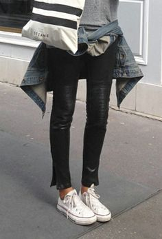 UNIFORM.  The essentials I would wear EVERYDAY: Leather Pants, tied jean jacket and converse