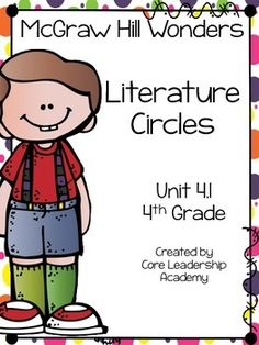 Thinkmark Literature Circle graphic organizer ~ Unit 4.1~There are 4 different levels approaching, on, ell, and advance!  Great for literacy centers! Enjoy!