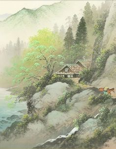 3 Piece Wall Art, Japanese Painting, Japan Art, Paint Party, Landscape Paintings, Art Pieces, Scenery, Art Deco, Asian