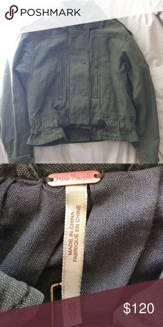 Free people jacket Olive green free people army jacket, great for fall! New without tags- company accidentally sent two! Free People Jackets & Coats