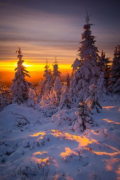 Winter sunrise in Karkonosze mountains, Czech Republic