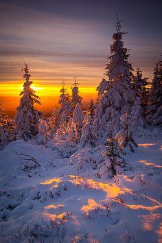 Winter sunrise in Karkonosze mountains, Czech Republic