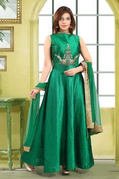Tapas fashion Green long salwar kameez.