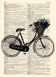 Original prints – Art bike print on a antique dictionary print – a unique product by Dictionary-vintage-book-page on DaWanda