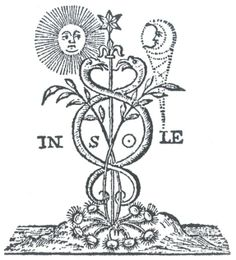 Serpenti Caduceo - here you can see the sepherim obscured but with wings where the wheat leaves are - like a dragon.- also the union of male and female that it's supposed to be.  The sun is crowned by a moon in the original one, that is left out now because the Magliens hate women so much and the moon represented the female divine spirit.