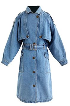1581688d0a2 LD Womens Single Breasted Long Rugged Denim Trench Jacket Coat Light Blue S