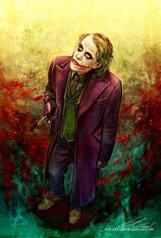 Fan art Joker (Heath Ledger) Batman The Dark Knight Joker Heath, Joker Batman, Joker Y Harley Quinn, Der Joker, Joker Art, Gotham Batman, Batman Art, Batman Robin, Fotos Do Joker