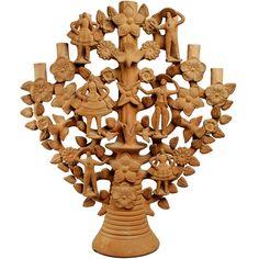 Gran árbol de la vida con porta velas en barro cocido y pastillaje original de la dinastía Soteno. Circa 1960´s