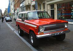 "A red urban FSJ Cherokee. I love the ""razor"" grille."
