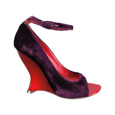 YVES SAINT LAURENT Size 6 Purple Velvet Peep Toe Curved Red Wedge -TAITAI- Pumps | From a collection of rare vintage shoes at https://www.1stdibs.com/fashion/accessories/shoes/