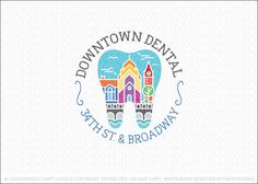 Logo for sale: Dental logo design featuring a dental molar tooth shape with a colorful and vibrant city scenery featuring homes, the business distinct, community, parks & bridge all combined together to capture the essence and heritage of city life.