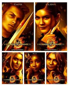 Really cool Hunger Games pictures - Cato, Clove, Glimmer, Rue and Foxface.