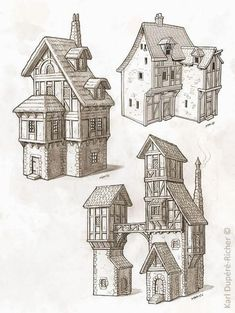 Dessin- - Everything About Minecraft Building Drawing, Building Sketch, Building Concept, Fantasy City, Fantasy House, Minecraft Blueprints, Minecraft Designs, Environment Concept Art, Environment Design