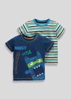 Boys 2 Pack Monster T-Shirts (3mnths-5yrs) - Matalan