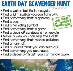 Earth Day Scavenger Hunt Primary Playground