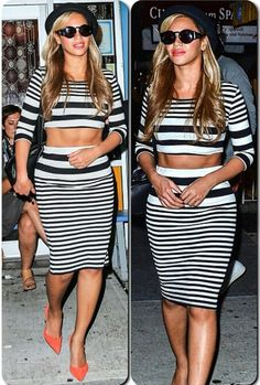 Queen B rules in her crop top and skirt set for Kanye's bday.