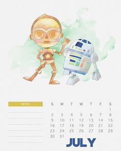 Calendario de Star Wars para el 2017 para imprimir gratis