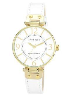 Anne Klein Ladies white leather strap watch- at Debenhams.com