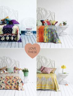 Love this quilt presentation   Kantha Quilts by decor8, via Flickr
