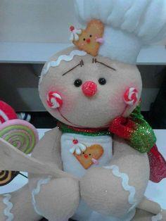 Galleta cocinera Gingerbread Decorations, Gingerbread Man, Christmas Decorations, Christmas Projects, Holiday Crafts, Holiday Decor, Felt Ornaments, Christmas Ornaments, Dyi Crafts