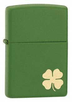 """Irish Luck Shamrock Matte Green Zippo #118 by BeWild. $24.24. Shamrock Matte Green Zippo. Zippo Manufacturing Company has produced over 400 million windproof lighters since its founding in 1932. Except for improvements in the flint wheel and modifications in case finishes, Zippo's original design remains virtually unchanged today, still looks great and are easy to use. The Lifetime Guarantee that accompanies every Zippo lighter still guarantees that """"It works or we..."""