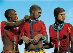Africa |  Dinka women wearing their traditional beaded corsets.  Just one of the many fantastic images included in Angela Beckwith and Carol Fischer's book Dinka: Legendary Cattle Keepers of Sudan.