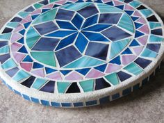 Items similar to Handmade glass on glass mosaic mandala in purple, pink and opalescent white. on Etsy Mosaic Crafts, Mosaic Projects, Mosaic Art, Mosaic Glass, Mosaic Tiles, Stained Glass, Glass Art, Mandala Floral, Mosaic Stepping Stones