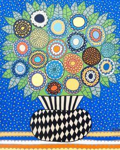 Kerri Ambrosino Art PRINT Mexican Folk Art by kerriambrosino Art Fibres Textiles, Textile Fiber Art, Folk Art Flowers, Flower Art, Flowers Vase, Painting Flowers, Art Fantaisiste, Naive Art, Mexican Folk Art