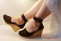 Crochet sandals : Eleni wedge sandals  women crochet sandals made to by magic4kids
