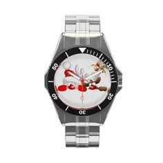 #Funny #Santa and #Reindeer #Cartoon #watches