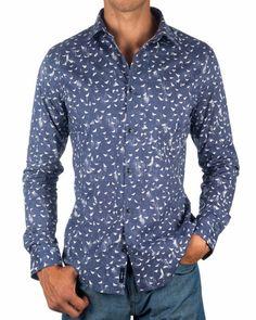 Camisas Armani Multilogo - Azul & Blanco