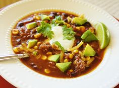 Recipe for Slow Cooker Easy Beefy Mexican Soup with Avocado