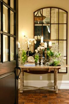 beautiful entry table and mirror