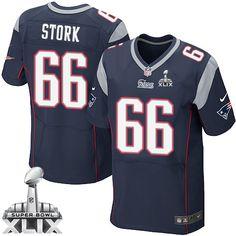 NFL New England Patriots Bryan Stork Mens Elite Home Navy Blue #66 Super Bowl XLIX Jersey
