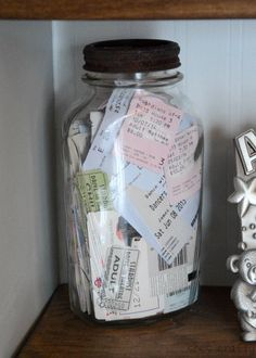 How to decorate your home with the things you love - We have been collecting movie stubs, concert tickets, hotel keys etc in this rusty vintage jar. Concert Ticket Display, Concert Tickets, Ticket Stubs, Decorating Your Home, Diy Home Decor, Diy Y Manualidades, Vintage Jars, Vintage Room, Travel Wall
