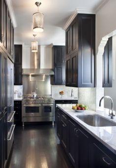 Galley kitchen, dark cabinet, light counter