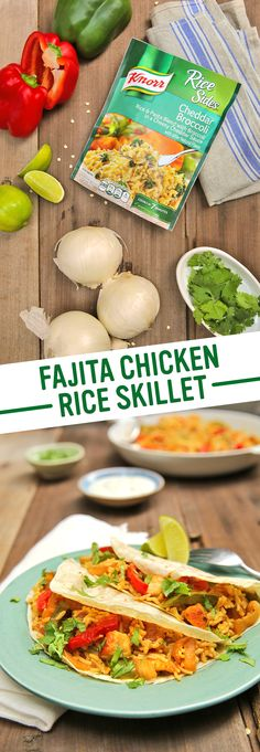 Fajita Chicken & Rice Skillet is delicious, easy, and sure to please your whole family. 1. Melt spread in a nonstick skillet and cook chicken, red & green peppers, onion, and chili powder. 2. Add water and Knorr® Rice Sides™ - Cheddar Broccoli. 3. Serve with tortillas, lime wedges, sour cream, and fresh cilantro. Enjoy!