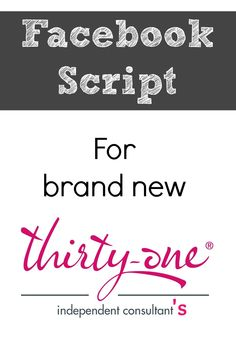 #consultants #thirtyone #facebook #script #heres #brand #makes #this #for #new #use #to #aHere's a Facebook Script for brand new Thirty-One consultants to use. This makes…Here's a Facebook Script for brand new Thirty-One consultants to use. This makes…  Thirty-One Holiday Facebook Party Script for November and December                                                                                                                                                                           ...