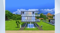 Check out this lot in The Sims 4 Gallery! - A floating home with three bedrooms and a feature fountain. Speed build video on my channel Anneliese_MB soon.