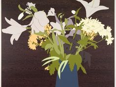 Joanna Lamb, Flowers with Walnut Verneer, laminex, 80x84cm