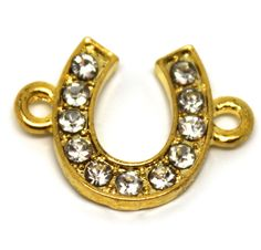 Horseshoe Gold Tone Bracelet Connector, Necklace Charms With Rhinestones. by AgouraBeads on Etsy