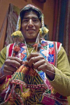 Knitting art by Peruvian man