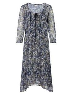 Robe tunique effet superposé à motif fleuri avec caraco